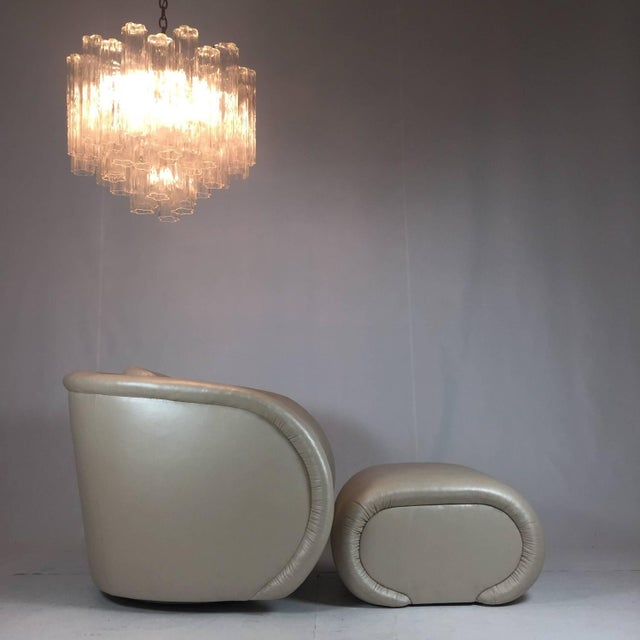 1980s Chair and Ottoman by Preview Furniture in Pearlized Leather - Image 4 of 8