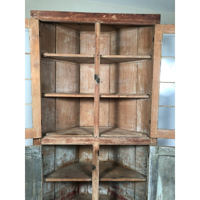 19th Century New England Country Corner Cupboard C. 1840 For Sale - Image 12 of 13
