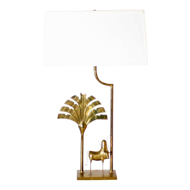 Brass Lamp With Brass African Cow Detail, C. 1970 For Sale