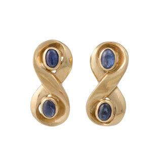 14k Gold Cabochon Sapphire Pierced Earrings For Sale