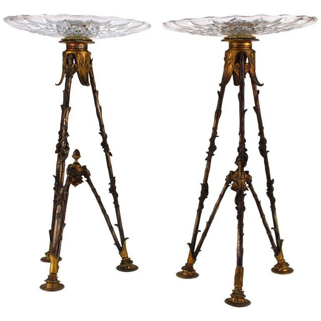 Antique Victorian French Pastry Holders on Tripod Bronze Bases and Val St. Lambert Glass - a Pair For Sale - Image 11 of 11
