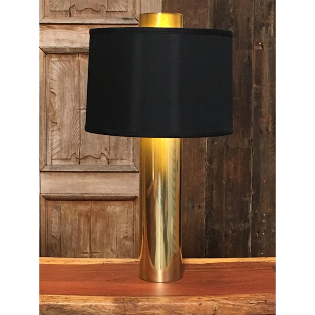 Modernist Brass Column Lamps - a Pair For Sale - Image 4 of 9