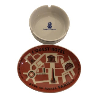 Antique Continental Hotel Ashtrays For Sale