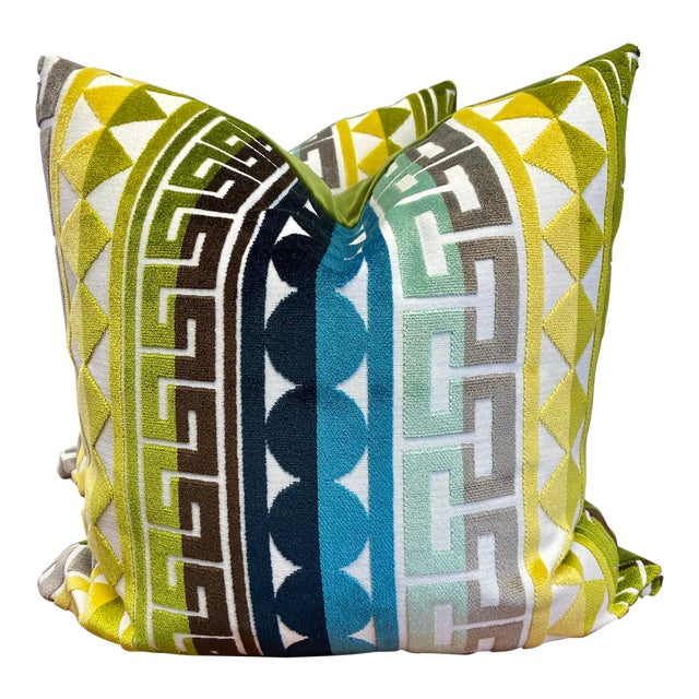 "Kravet ""Seurat in Seaside"" 22"" Pillows-A Pair For Sale"