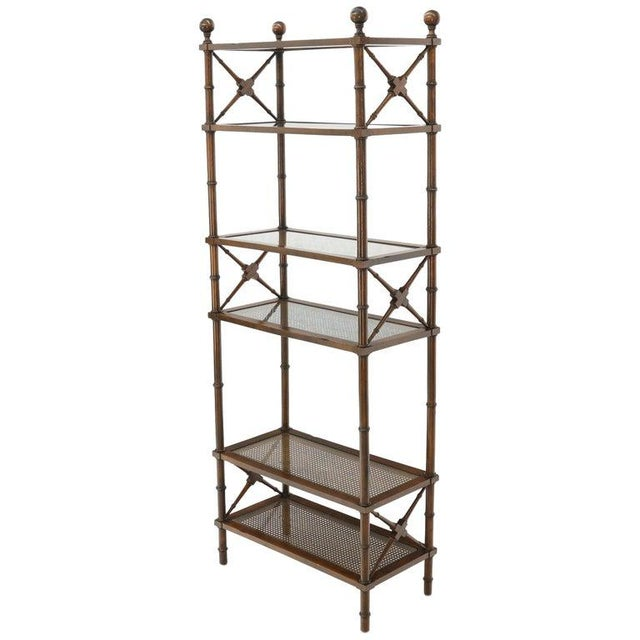 X Stretchers Faux Bamboo Cane and Glass Shelves Étagère Shelves For Sale - Image 13 of 13