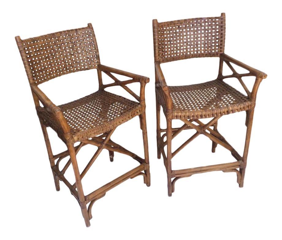 Vintage McGuire Bar Chairs    A Pair