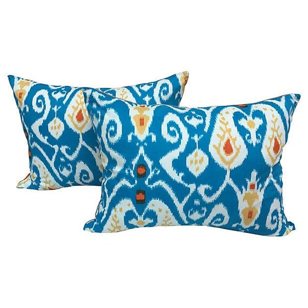 Turquoise Ikat Pillows - Pair - Image 1 of 4