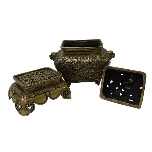 Chinese Oriental Fine Bronze Metal Incense Burner Display For Sale - Image 4 of 5