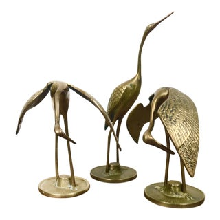 Mid-Century Solid Brass Crane Figurines - Set of 3 For Sale