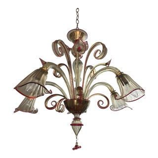 Vintage Mid-Century Murano Glass Calla Lily Chandelier For Sale