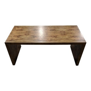 Mid-Century Modern Olive Ash Burl Waterfall Table For Sale