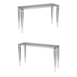 Elegant Perspex Console Tables - A Pair For Sale