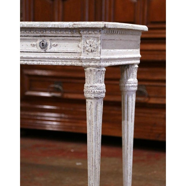 Wood 19th Century French Louis XVI Carved Painted Table Console For Sale - Image 7 of 13