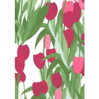 In Bloom Wallpaper in Spinel Red, Sample For Sale