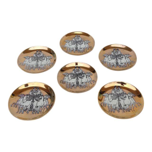 Piero Fornasetti Gilt Roman Chariot Coasters - Set of 6 - Image 1 of 5