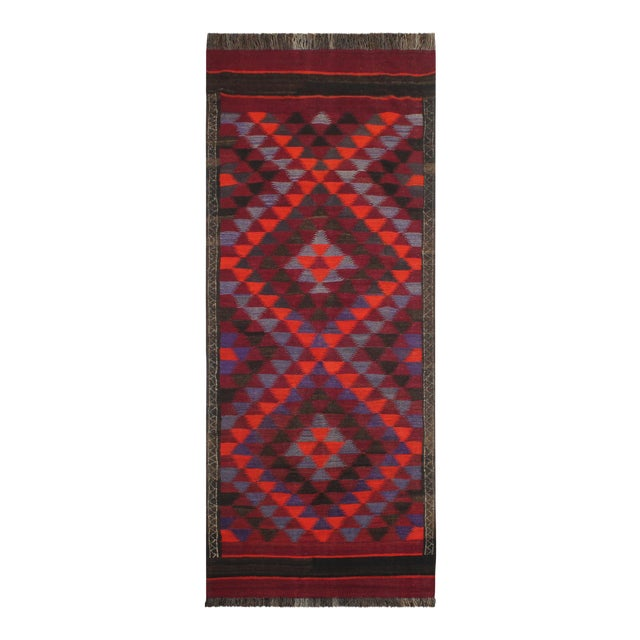 "Antique Turkish Vintage Kilim Jamey Red Orange Hand-Woven Area Rug 3'11"" X 10'4"" For Sale"