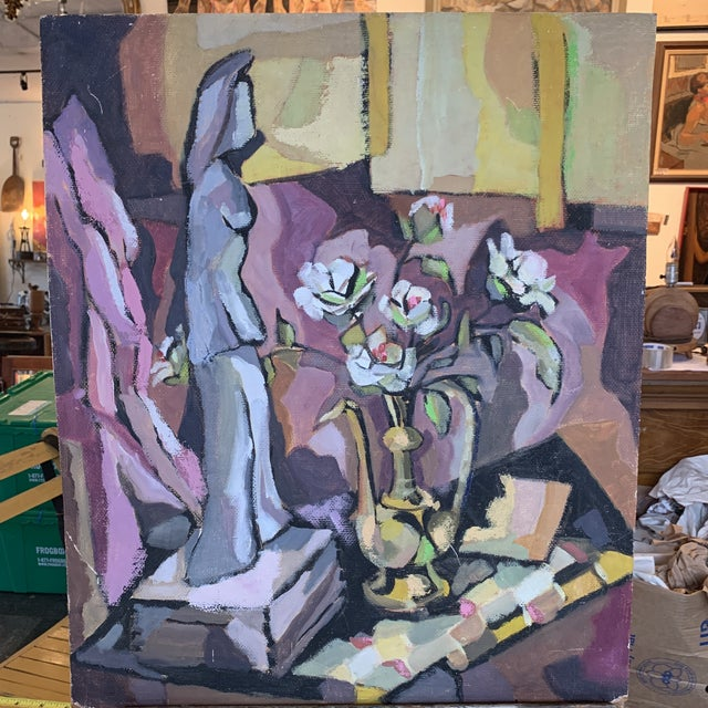 Unframed Figurine With Vase Still Life Painting on Board For Sale In Seattle - Image 6 of 6