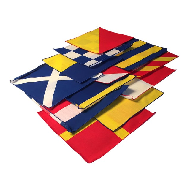 1950's Nautical Signal Flag Cocktail Napkins - Set of 12 For Sale