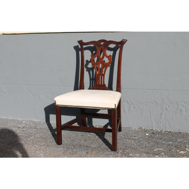 Chippendale Vintage Mid-Century Chippendale Style Carved Mahogany Occasional Chair For Sale - Image 3 of 12