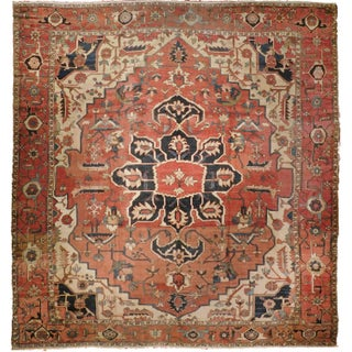 """Antique Persian Karaja Hand-Knotted Luxury Rug - 11'3"""" X 12'6"""" For Sale"""