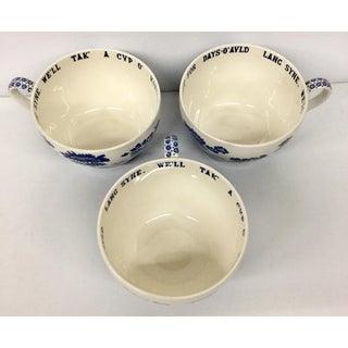 1910s Folk Art Spode Cobalt Soup Cups - Set of 3 Preview