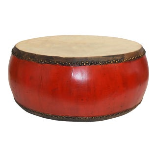 Large Mid-Century Red Lacquer Drum on Wood Base For Sale