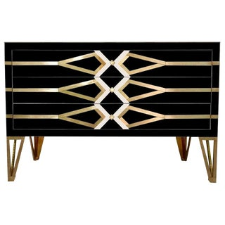 Contemporary Italian ]Gold Brass and Black Three-Drawer Chest or Sideboard For Sale