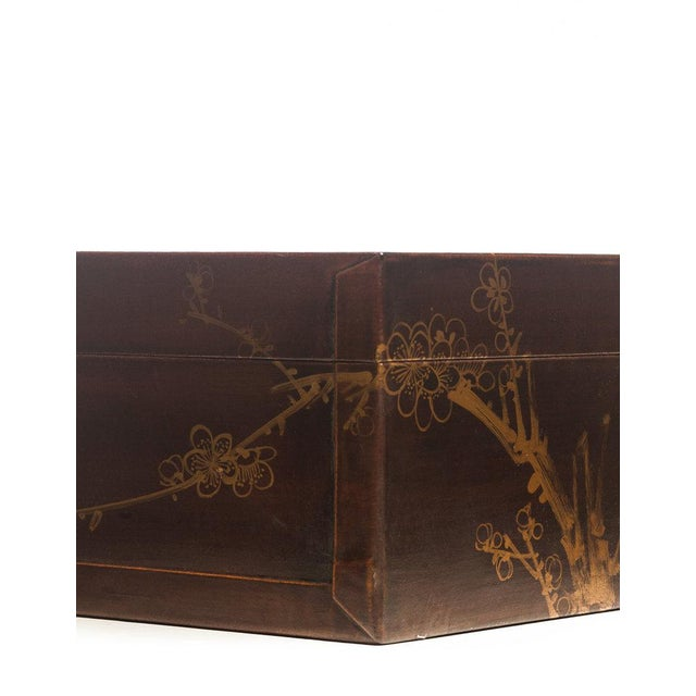 """Lawrence & Scott Mahogany Meridian Leather Box ( 16.5"""") For Sale"""