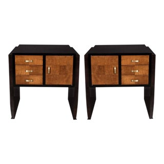 Pair of Art Deco Nightstands or End Tables in Burled Elm and Ebonized Walnut For Sale