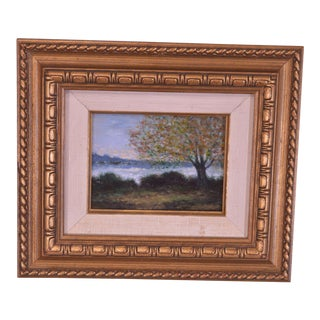 Impressionist Oil Landscape Painting of Tree Beside Water Ships in Background For Sale
