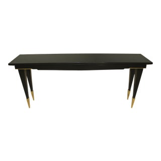 1940s French Art Deco Ebonized Console Table For Sale
