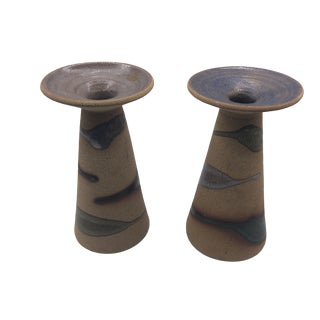 1970s Modern Shape Art Pottery Candleholders - a Pair For Sale