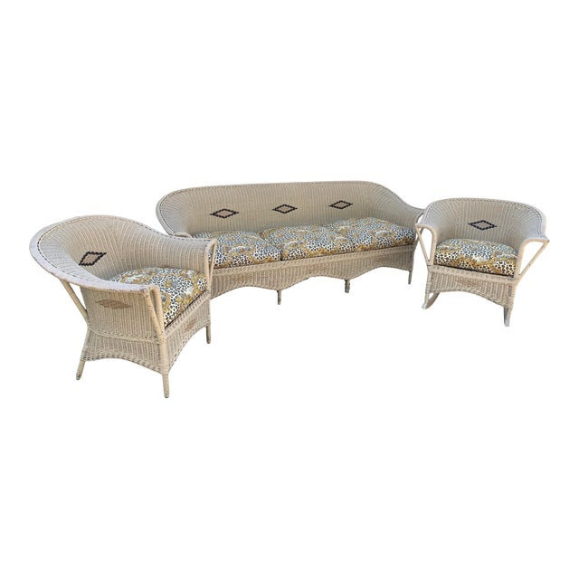 Vintage Heywood-Wakefield Wicker Sofa Set With Leopard Pattern Cushions - Set of 3 For Sale