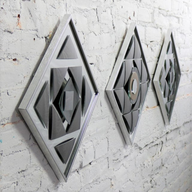 Late 20th Century Pop Art Op Art Geometric Trio of Framed Mirror Wall Sculptures by Hal Bienenfeld For Sale - Image 5 of 13