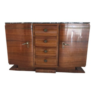 1920s French Art Deco Sideboard With Marble Top For Sale