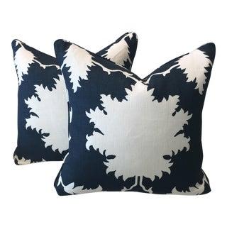 Schumacher Garden of Persia Indigo Pillows - A Pair For Sale