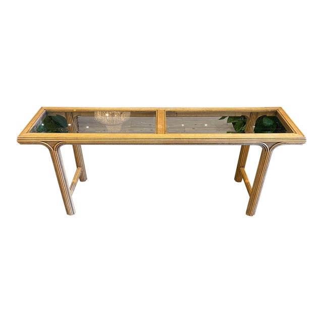 Art Deco Style Console With Smoke Glass Top For Sale