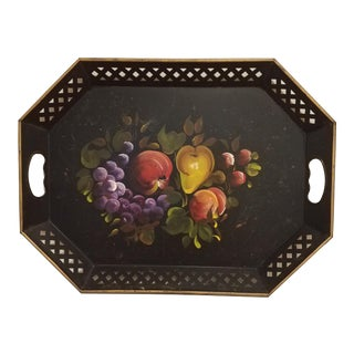 Black Mid Century Fruit Motif Hand-Painted Tole Tray For Sale