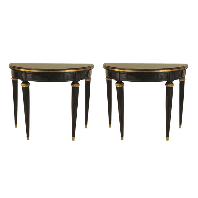 Pair of French 1940s, Louis XVI Style Console Tables For Sale