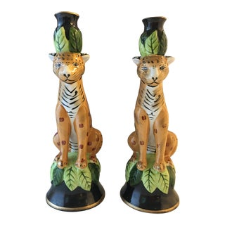 Ceramic Cheetah Candle Holders - A Pair