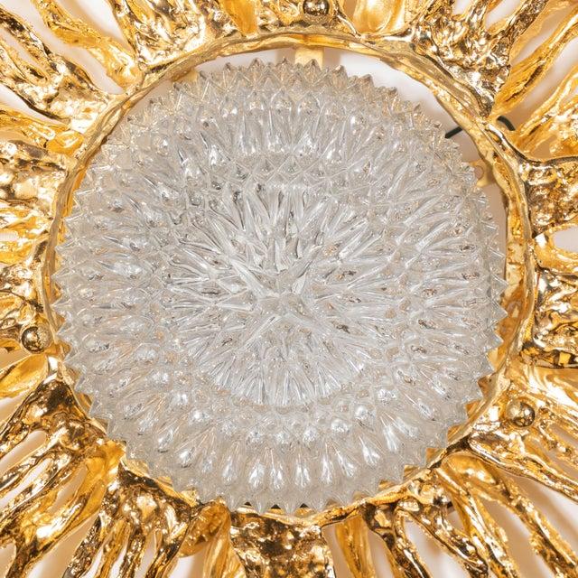 Metal Vintage Claude Boeltz Exploded Bronze and 24-Karat Gold Sunburst Flush Mount Chandelier For Sale - Image 7 of 12