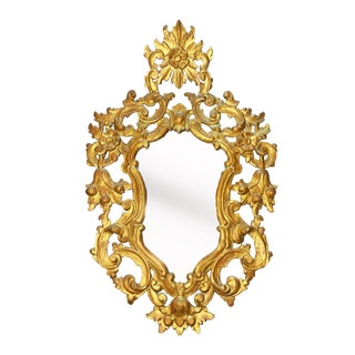 Vintage 1950s Hand Carvedorous Gilt Wood Rococo Mirror For Sale