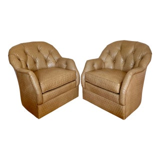 1980s Leathercraft Swivel Diamond Collection Tufted Club Chairs - a Pair For Sale