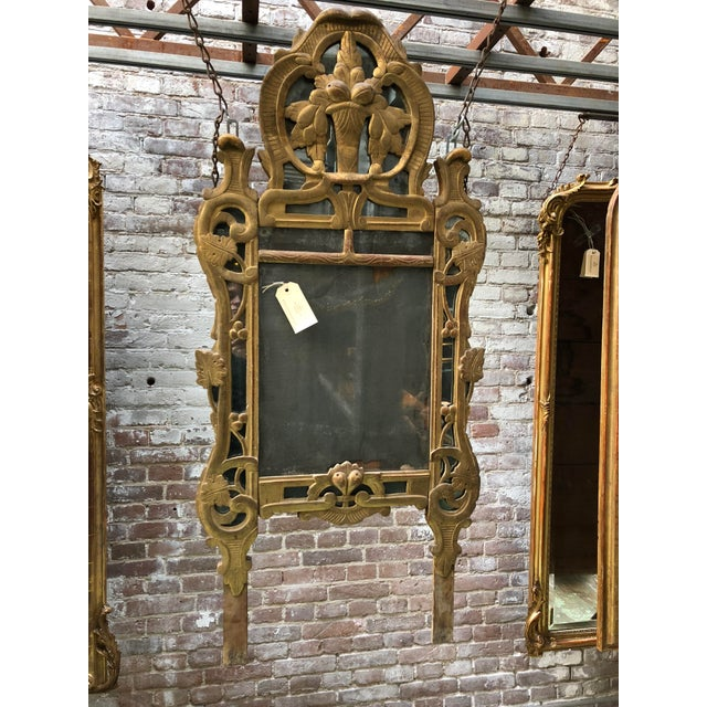 Glass 18th Century Louis XV Carved Gilt Wood Mirrors, Exceptionnel Set of Three. For Sale - Image 7 of 13