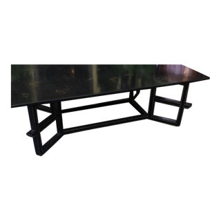 Charles Fradin for Dessin Fournir Black Lacquer Chinoiserie Decorated Coffee Table For Sale