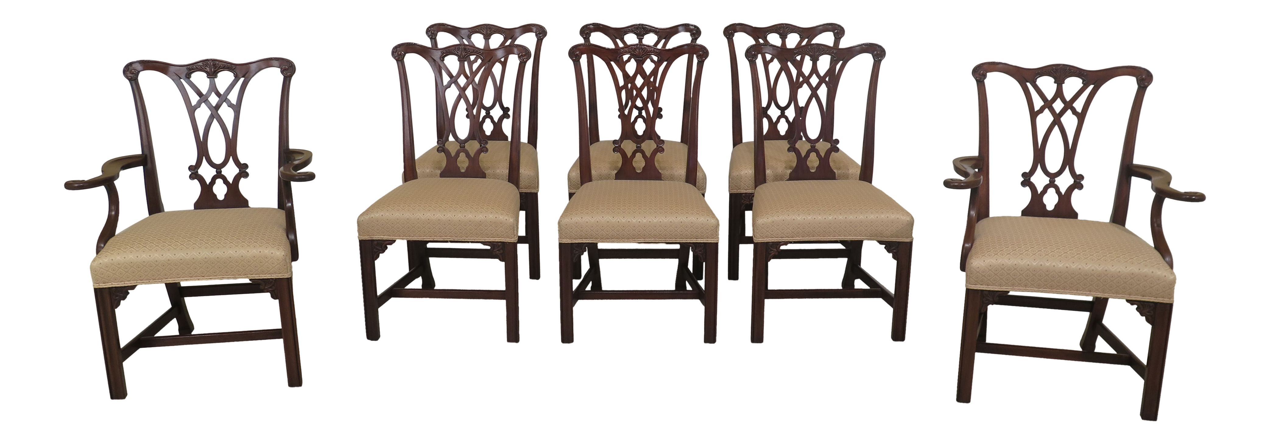 Bon Henkel Harris Chippendale Mahogany Dining Room Chairs   Set Of 8