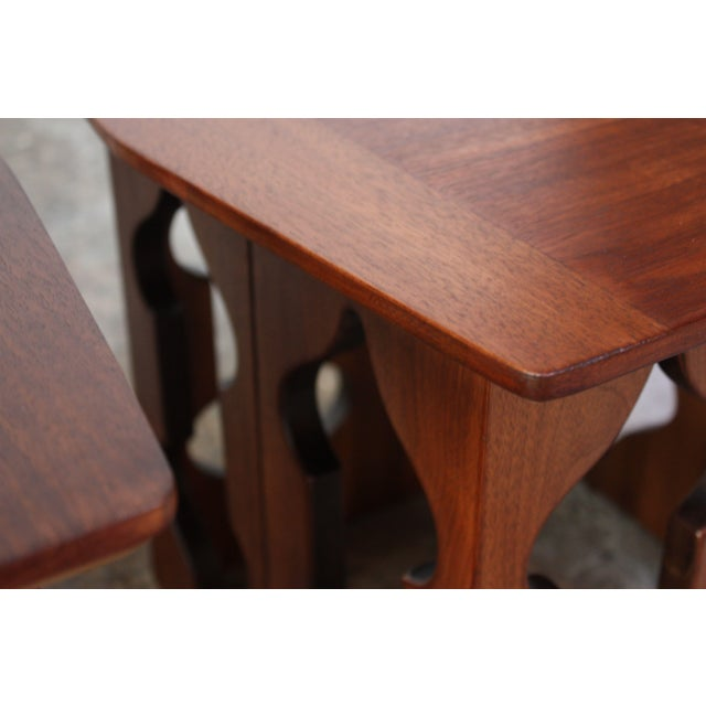 Pair of Vintage Moorish Style Walnut Side Tables with Carved Decoration For Sale - Image 11 of 12