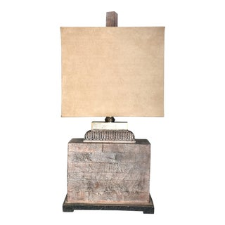 Craftsman Style With Faux Suede Shade Table Lamp by Carolyn Kinder For Sale