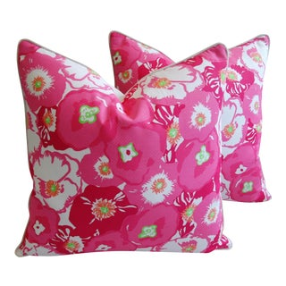 """Pink Begonia Blossom Feather/Down Pillows 24"""" Square - Pair For Sale"""