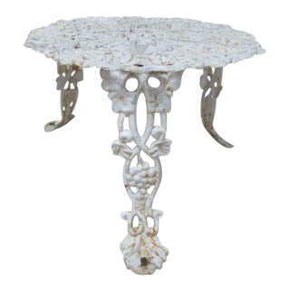 Vintage French Patio Pierce Carved End Table For Sale